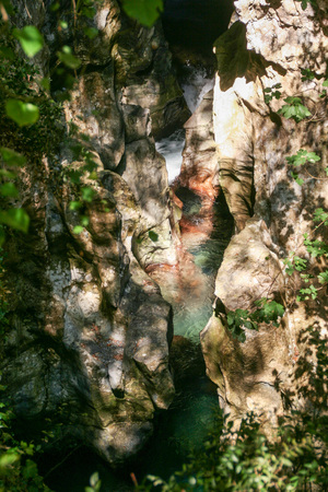 the narrow cave and gorges of the river Bussento resurgence, a natural reserve   in Cilento national park