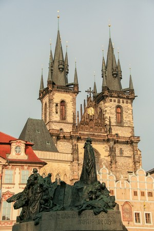 the Gothic Church of Our Lady before T�n, and Jan Hus statue in the old square of Prague, Czech Republic