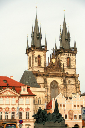 the Gothic Church of Our Lady before T?n, and Jan Hus statue in the old square of Prague, Czech Republic Editorial