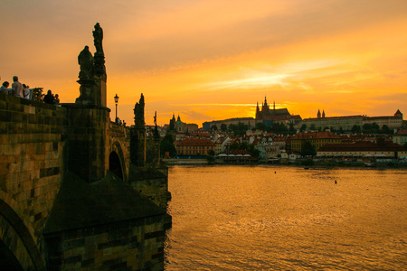 View of Prague cityscape on sunset, Czech Republic