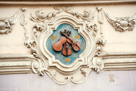 Nerudova street in Prague and the  House of Three violins