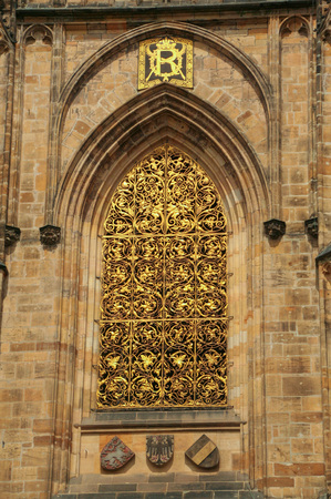 Detail of the facade of The Metropolitan Cathedral of Saints Vitus, Wenceslaus and Adalbert in the castle complex of Prague, Czech Republic.