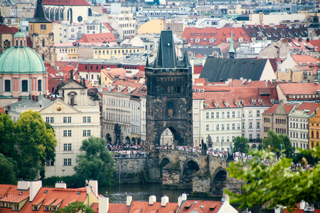 View of Prague cityscape as seen from the castle, Czech Republic