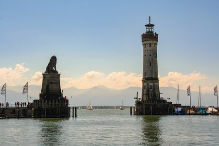 the port of Lindau on the lake of Constance, Bodensee, Germany