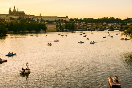 At Prague- Czech Republic - On 07/26/2015 - View of Prague cityscape on sunset, Czech Republic Editorial