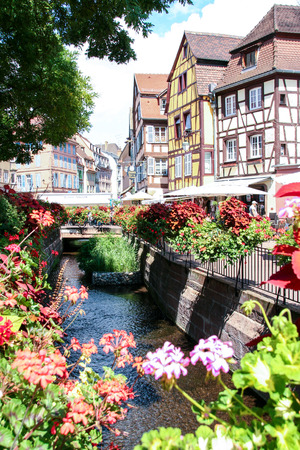 Colorful half-timbered  houses in Colmar, Alsace