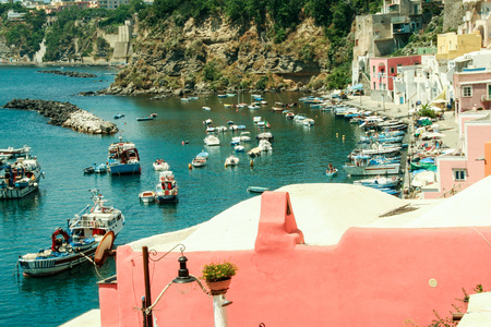 At Procida - Naples- Italy-  ON  06272014the charming port of Corricella  with its colorful fishermen houses, island of Procida Naples, Italy Editorial