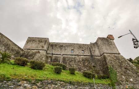 San Giorgio castle, the genoan fotification that dominates  La Spezia from its hills in Liguria, Italy Editorial