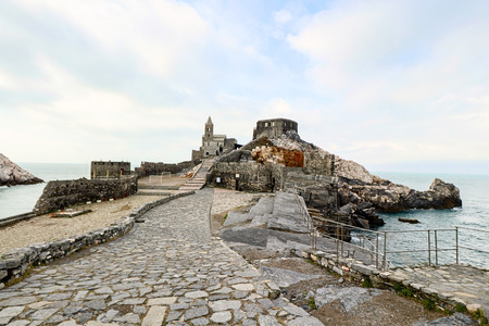 The chirch of Saint Peter on the promontory if Porto Venere in Liguria, Italy Stock Photo