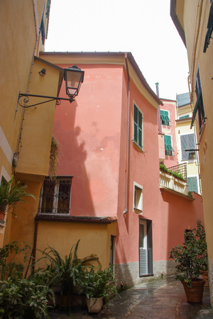 Typical narrow streets of ligurian towns known as carrugi, at Monterosso al Mare, one of the towns of five lands, in Liguria region, Italy Banco de Imagens