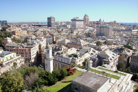 Cityscape of Genoa from Spianata Castelletto, Italy Standard-Bild - 102450686