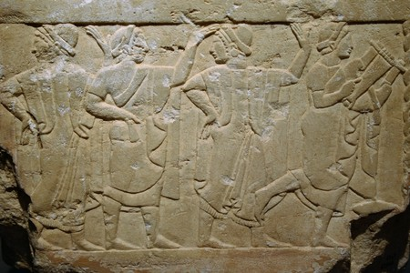 At Chiusi - Italy - On O1082011 - bas-relief on etruscan sarcophagus  in National Etruscan Museum