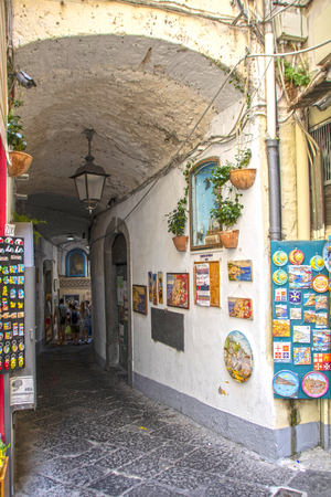 At Amalfi - Italy - On July 2018 - Lively street in the historical center of the town Redakční