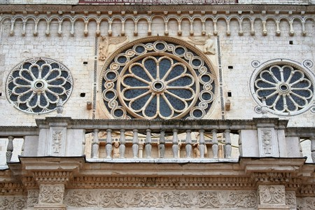 rose window on the cathedral of Spoleto, Umbria, Italy