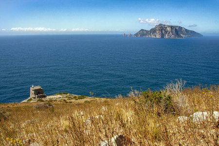 landscape of Ieranto bay in Sorrento, from Punta Campanella,  Naples, Italy Banque d'images