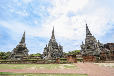 Buddhist temple called Wat Phra Si Sanphet or Temple of the Holy, Splendid Omniscient in the city of Ayutthaya Historical Park, Thailand