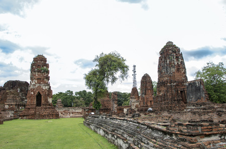 Wat Mahathat , the Temple of the Great Relic, a Budhist temple in Ayutthaya historical park, Thailand