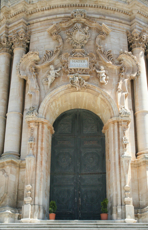 Door of the baroque  Saint George cathedral at Modica, Sicily