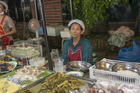 At Chang Rai - Thailand - on august 2018 - Traditional stall of thai street food in the night market Editorial