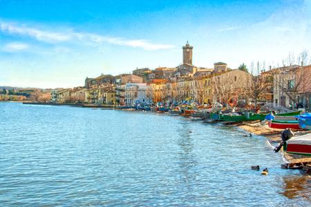 view of the burg of Marta on Bolsena lake, Lazio, Italy 版權商用圖片