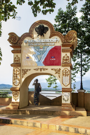 AtSop Ruak - Thailand - on august 2018 - View of Mekong river and golden triangle
