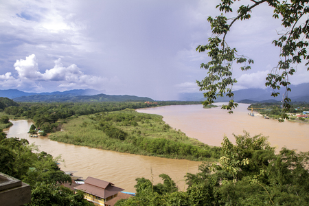 View of Mekong river and golden triangle from the hill of Sop Ruak in Thailand