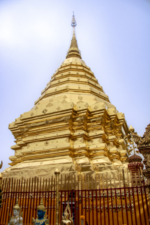 Golden stupa in the Buddhist thai temple called Wat Phra That Doi Suthep, a Theravada wat in Chiang Mai Province, Thailand