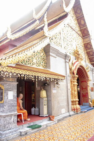the Buddhist thai temple called Wat Phra That Doi Suthep, a Theravada wat in Chiang Mai Province, Thailand Stock Photo