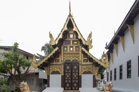 Pagoda of Wat Chiang Man, the elephant temple in the Buddhist temple in Chiang Mai, Thailand