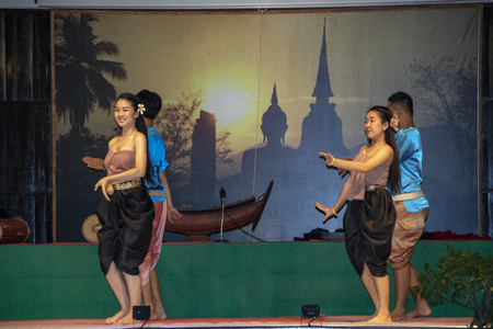 At Sukhotai - Thailand - On august 2018 - dancers performing traditional thai dances