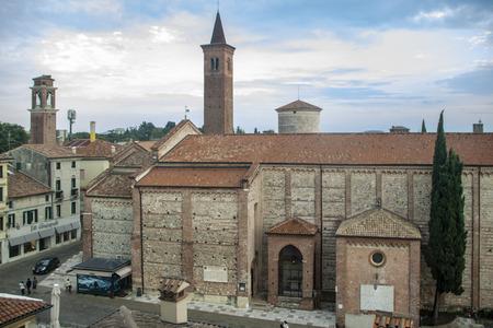 The romanesque- gothic church dedicated to St Francis in late 1300 at Bassano del Grappa, Italy Archivio Fotografico