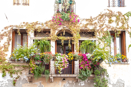 lovely flowered old  balcony in the medieval  town of Marostica, Veneto,Italy