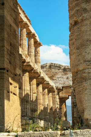 The temple of Neptune or Hera II,   in the archaelogical site of Paestum, ancient greek colony