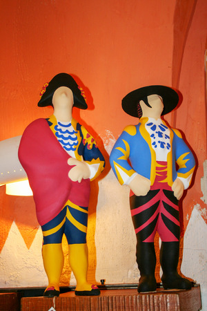 At Madrid - Spain - On february 2010 - little ceramic statuette representing toreadors in traditional clothes