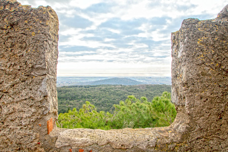 Landscape of tuscan countryside and see as seen from the fortress of Cabalbio, Tuscany, Italy