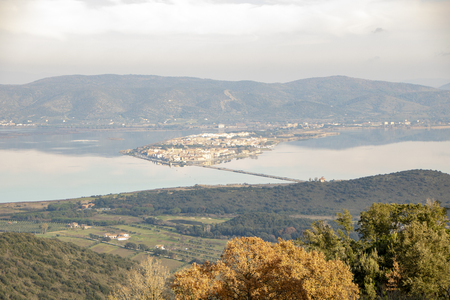 landscape of Orbetello lagoon and the Tuscan archipelago as seen from the  Monastery of the Passionist Fathers.on Argentario mount in maremma tuscany,Italy Stock Photo