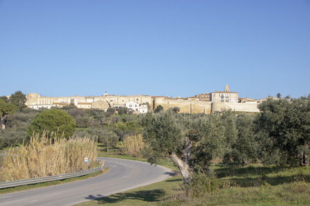 Magliano is a  small  village in the heart of the Maremma in  Tuscany, surrounded by medieval walls and overlooking tuscan countryside Standard-Bild