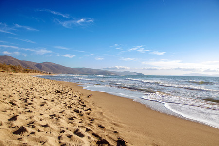 beatiful sandy beach in Maremma national park, natural reserve in Tuscany, Italy Фото со стока