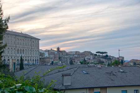 The town of Recanati at evening; Marche region, Italy