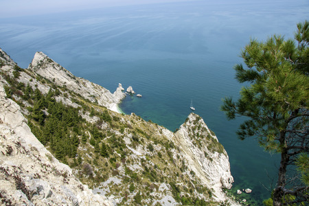 view of two sisters beach from Mount Conero, Italy, Marche region