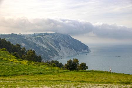 landscape of Mezzavalle beach at Portonovo on Conero Riviera Italy, Marche region