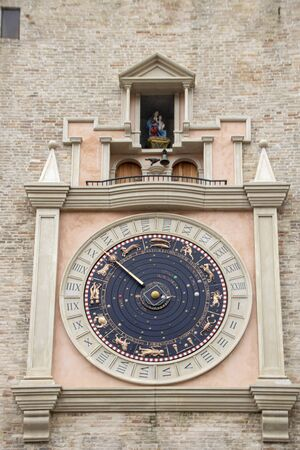The Planetary Clock of Macerata's City Tower, Mrches, Italy Stockfoto