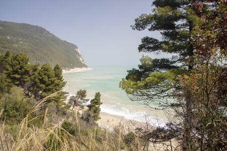 landscape of adriatic coastline and sea from Mount Conero, Italy, Marche region