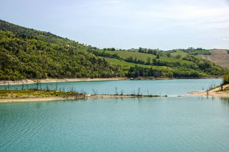 Castreccioni lake, also known as Lake of Cingoli,  created in the '80 when a dam was placed across the Musone River.  It's The biggest artificial lagoon in the Marche region. Italy