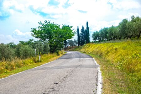 road crossing the beautiful tuscan countryside in Chianti region, Italy