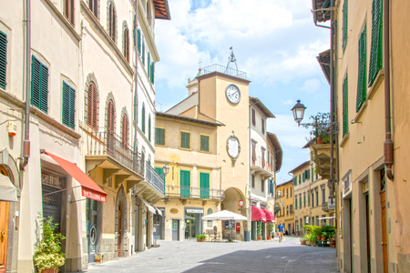 At San Casciano in Val di Pesa - Italy - On July 2019 -  street in the historicall center of the town in Chianti region