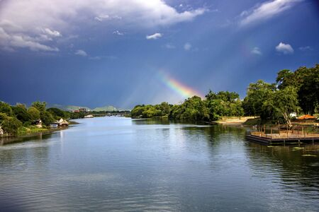 At Kanchanaburi - Thailand - on august  2019 - beautiful landscape of River Kwai from the historical bridge 免版税图像