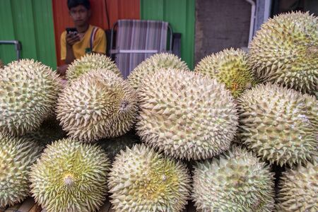At Kanchanaburi - Thailand - At august 2019 - A stall of Durian fruit in a thai fruit marlet