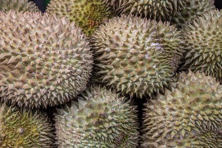 A stall of Durian fruit in a thai fruit marlet