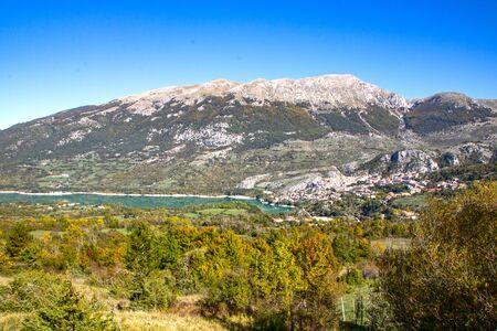 The village of Barrea and Barrea lake in Abruzzo region, Italy